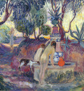 bathers at a fountain in saint tropez