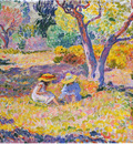 girls among olive trees