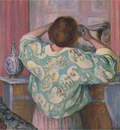 Woman Doing Her Hair at the Mirror