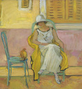 woman in a white robe