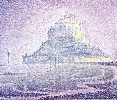 mont saint michel fog and sun