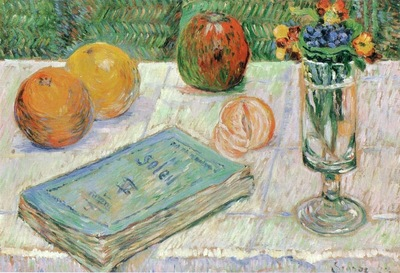 still life with a book and oranges