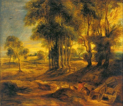 landscape with the carriage at the sunset