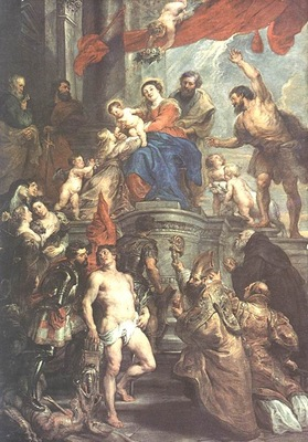 madonna enthroned with child and saints