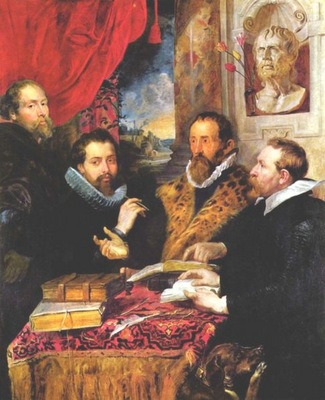 selfportrait with brother philipp justus lipsius and another scholar