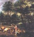 landscape with cows and wildfowlers