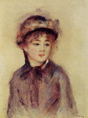 bust of a woman wearing a hat