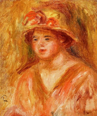 bust of a young girl in a straw hat