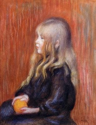 coco holding a orange