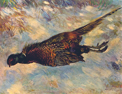 dead pheasant in the snow