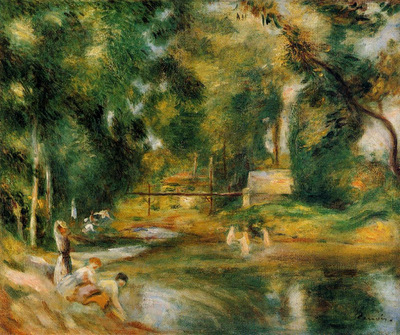 essoyes landscape washerwoman and bathers