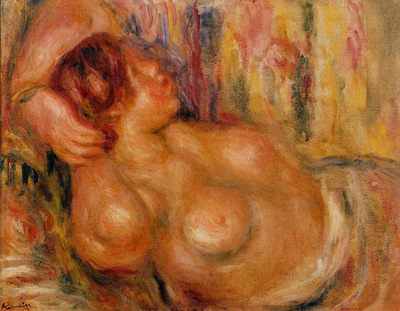 femme a la poitrine nue endormie