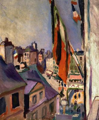 flag decorated street
