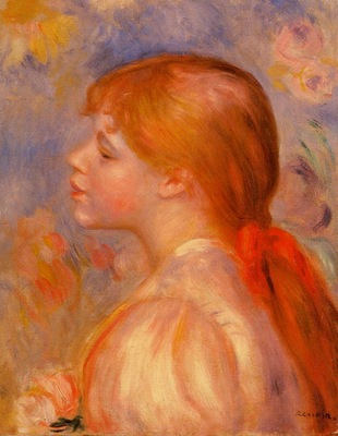 girl with a red hair ribbon