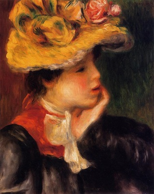 head of a young woman also known as yellow hat
