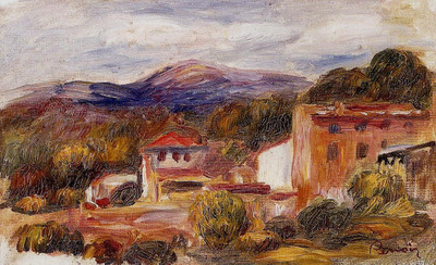 house and trees with foothills 1904