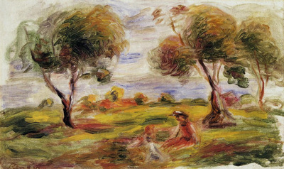 landscape with figures at cagnes