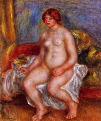nude woman on gree cushions