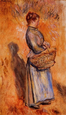 peasant woman standing in a landscape