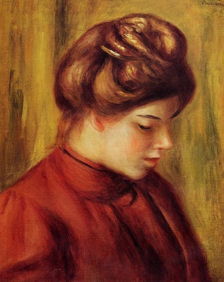 profile of a woman in a red blouse
