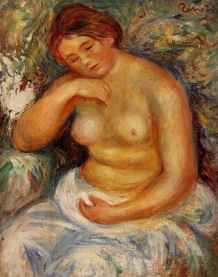 seated nude with a bouquet 1914