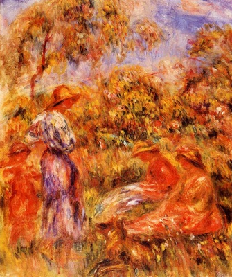 three women and child in a landscape