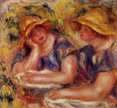 two women in blue blouses