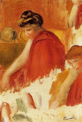 Two Women in Red Robes