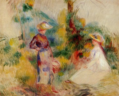 two women in a garden