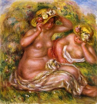 two women with flowered hat