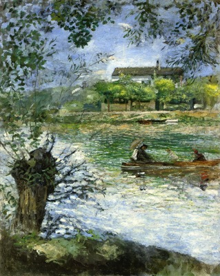 willows and figures in a boat