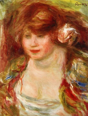 woman wearing a rose andree