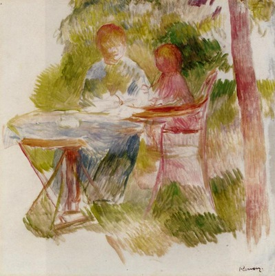 woman and child in a garden sketch