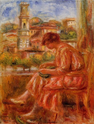 woman at the window with a view of nice