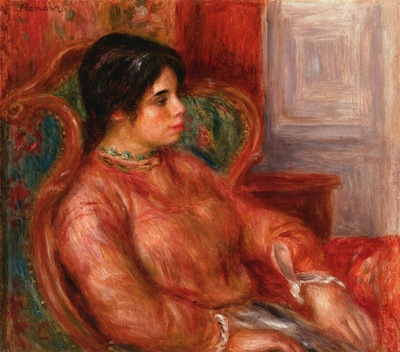 woman with green chair