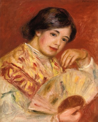 woman with a fan