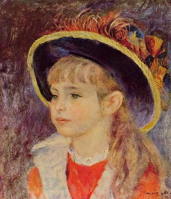 young girl in a blue hat