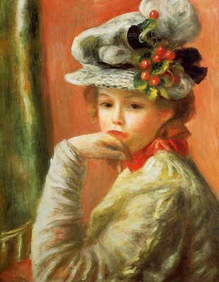 young girl in a white hat