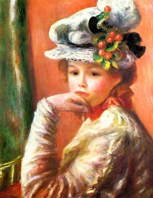 young girl in a white hat also known as woman leaning on her hand