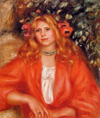 young woman wearing a garland of flowers
