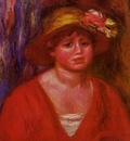 bust of a young woman in a red blouse