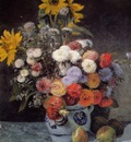 mixed flowers in an earthenware pot