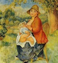 motherhood also known as woman breast feeding her child