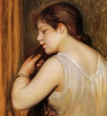 the coiffure also known as young girl combing her hair