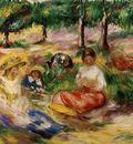 three young girls sitting in the grass 1896
