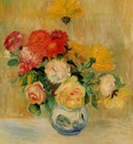 vase of roses and dahlias 1883