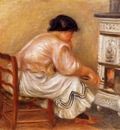 woman stoking a stove