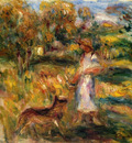 woman in blue and zaza in a landscape
