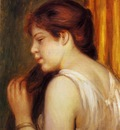 young girl combing her hair 1891