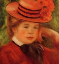 young girl in a red hat